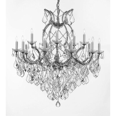 Weidler 16-Light Chain Crystal Chandelier Finish: Silver