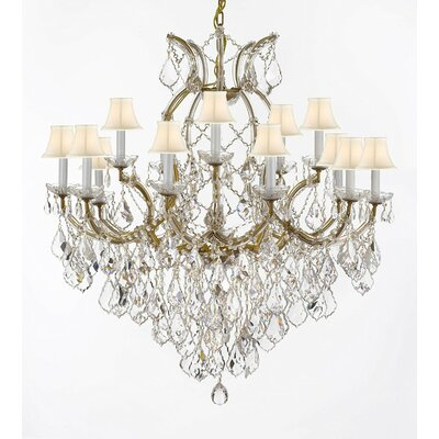 Weidler 16-Light Fabric Shade Crystal Chandelier