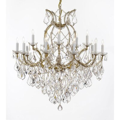 Weidler 16-Light Chain Crystal Chandelier Finish: Gold