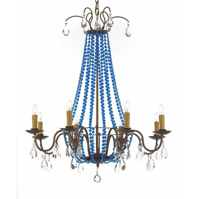 Weigand 8-Light Candle-Style chandelier Crystal Color: Blue