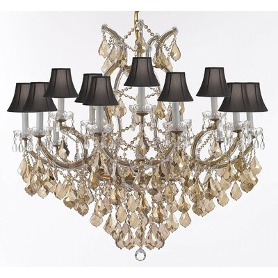 Carswell Chandelier With Golden Crystal & White Shades Shade Color: Black