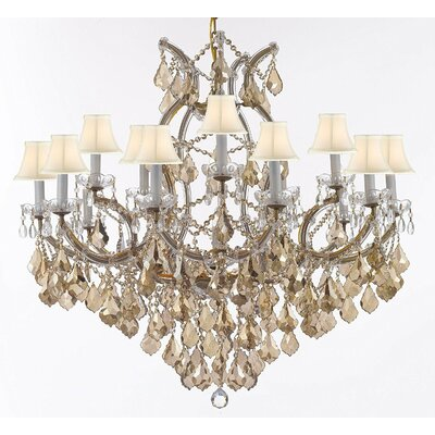 Carswell Chandelier With Golden Crystal & White Shades Shade Color: White