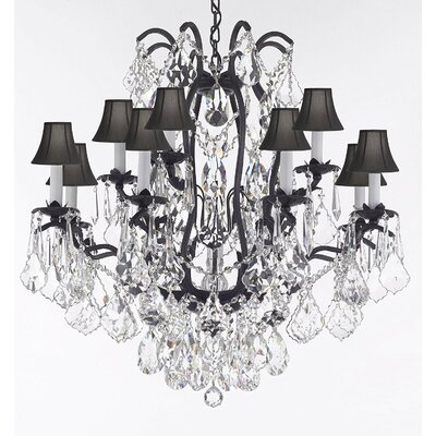 Carswell Crystal Chandelier With Diamond Cut Crystal Shade Color: Black