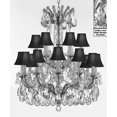 Carswell 18-Light Chain Candle-Style Chandelier Color: Silver, Shade Color: Black