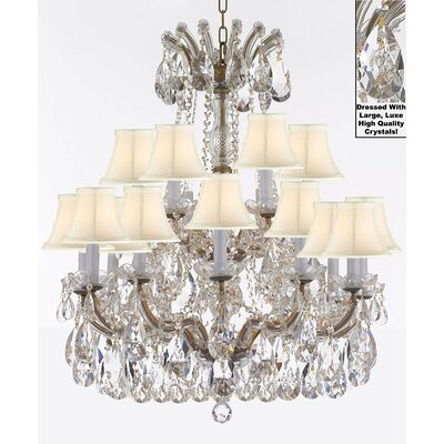 Carswell 18-Light Chain Candle-Style Chandelier Color: Gold, Shade Color: White