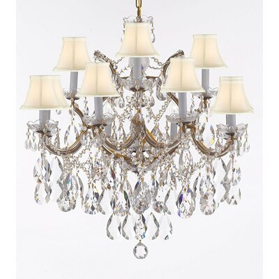 Carswell 13-Light Candle-Style Chandelier Finish: Gold, Shade Color: White