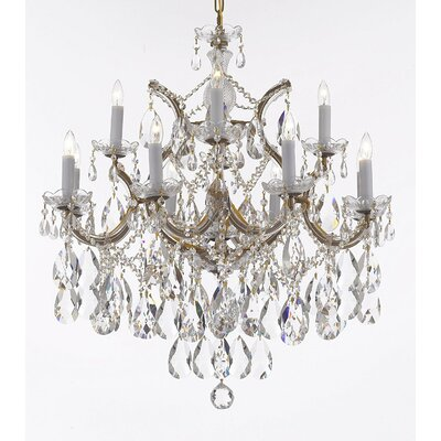 Carswell 13-Light Chain Candle-Style Chandelier Finish: Gold