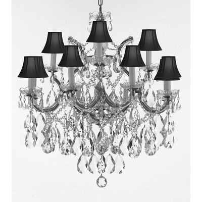 Carswell 13-Light Fabric Candle-Style Chandelier Color: Gold, Shade Color: White