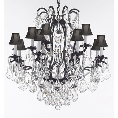 Dagan 12-Light Candle-Style Chandelier Shade Color: Black