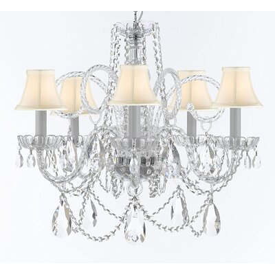 Cozine 5-Light Crystal Chandelier Shade Color: White