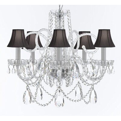 Cramlington 5-Light Crystal Chandelier Shade Color: Black