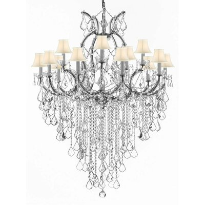 Bellefonte 16-Light Crystal Chandelier Color: Silver, Shade Color: White
