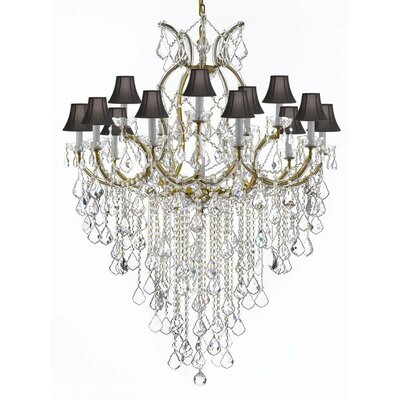 Bellefonte 16-Light Crystal Chandelier Color: Gold, Shade Color: Black