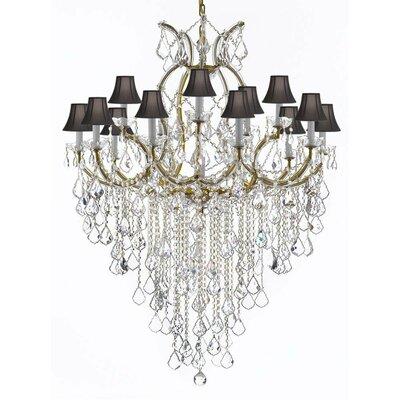 Bellefonte 16-Light Crystal Chandelier Finish: Gold, Shade Color: Black