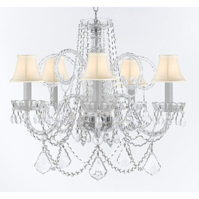 Crayford 5-Light Crystal Chandelier Shade Color: White