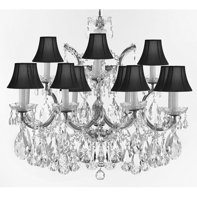Bellefonte Traditional 13-Light Crystal Chandelier Color: Silver, Shade Color: Black