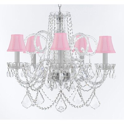 Crayford 5-Light Crystal Chandelier Shade Color: Pink