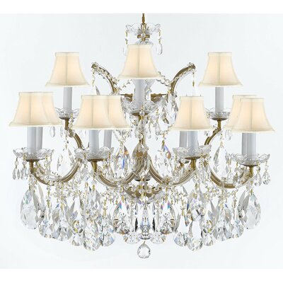 Bellefonte Traditional 13-Light Crystal Chandelier Finish: Gold, Shade Color: White