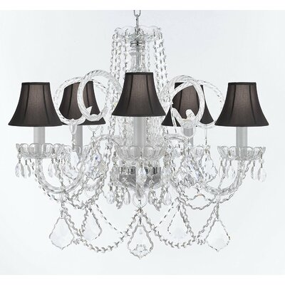 Creeves Glam 5-Light Crystal Chandelier Shade Color: Black