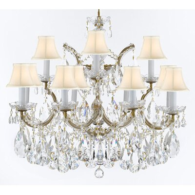Crediton 13-Light Crystal Chandelier Finish: Gold, Shade Color: White