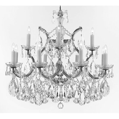 Bellefonte Hanging 13-Light Crystal Chandelier Finish: Silver