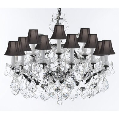 Borunda 18-Light Crystal Chandelier Shade Color: Black, Size: 22 H x 30 W x 30 D, Crystal: Clear
