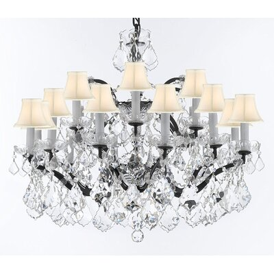 Borunda 18-Light Crystal Chandelier Shade Color: White, Size: 22 H x 30 W x 30 D, Crystal: Clear