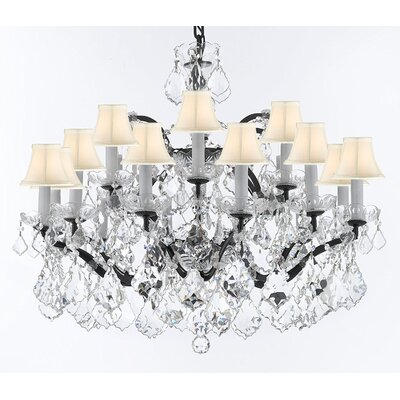 Borunda Iron 18-Light Crystal Chandelier Shade Color: White