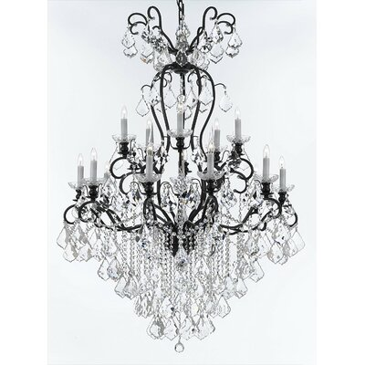 Alvan Traditional Wrought Iron 16-Light Crystal Chandelier