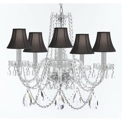 Bosco 5-Light Fabric Shade Crystal Chandelier Shade Color: Black