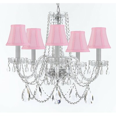 Bosco 5-Light Fabric Shade Crystal Chandelier Shade Color: Pink
