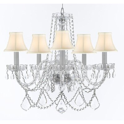 Bosco 5-Light Candle-Style Chandelier Shade Color: White