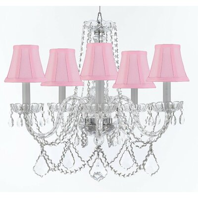 Bosco 5-Light Candle-Style Chandelier Shade Color: Pink