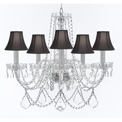 Bosco 5-Light Crystal Chandelier Shade Color: Black