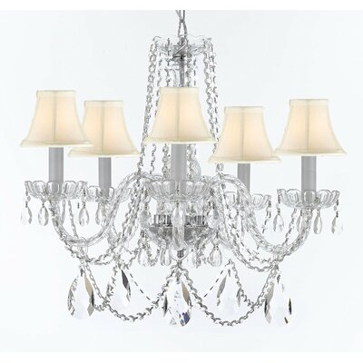 Bosco 5-Light Fabric Shade Crystal Chandelier Shade Color: White