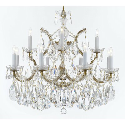 Bellefonte Hanging 13-Light Crystal Chandelier Finish: Gold