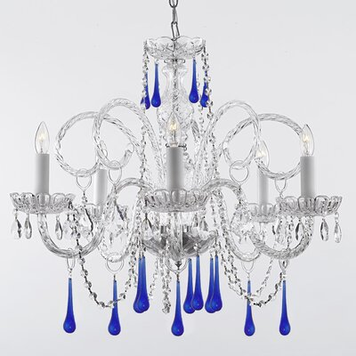 Jourdan 5-Light Crystal Chandelier Crystal Color: Blue
