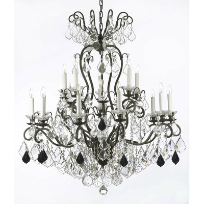 Maclean 16-Light Candle-Style Chandelier Size: 44 H x 36 W x 36 D, Crystal Color: Black