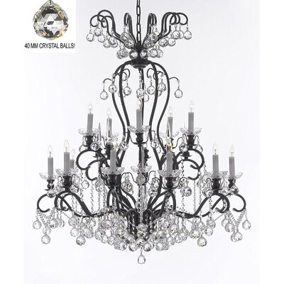 Maclean 16-Light Candle-Style Chandelier Size: 44 H x 36 W x 36 D, Crystal Color: Clear