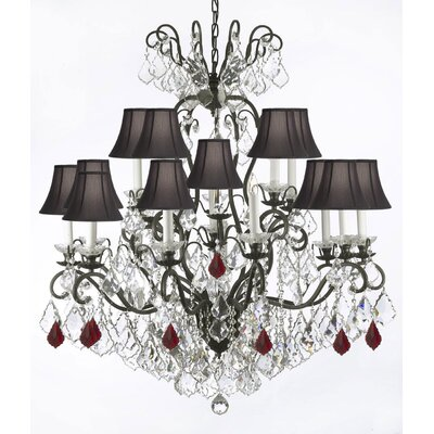 Maclean 16-Light Candle-Style Chandelier Size: 44 H x 38 W x 38 D, Crystal Color: Red