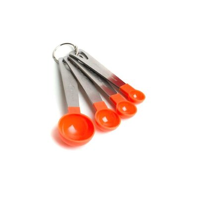 Prime Pacific Cook's Corner 4-Piece Nylon and Stainless Steel Measuring Spoon Set - Color: Orange