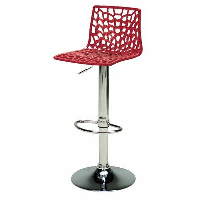 Spider Adjustable Height Swivel Bar Stool (Set of 2) Upholstery: Red