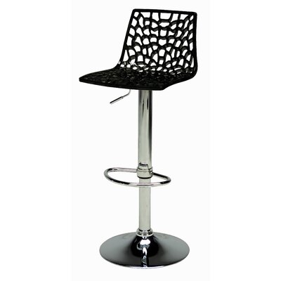 Spider Adjustable Height Swivel Bar Stool (Set of 2) Upholstery: Black