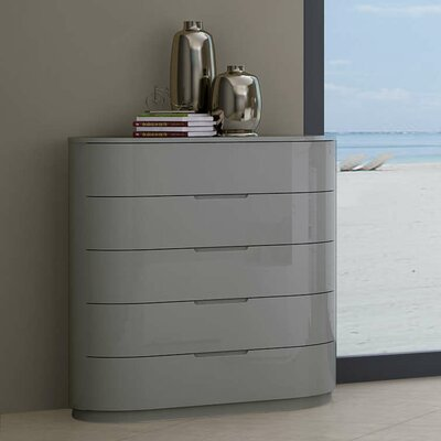 Moonlight 5 Drawer Chest Color: Gray
