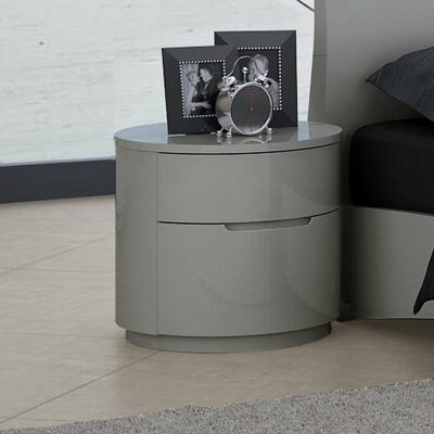 Moonlight 2 Drawer Nightstand Color: Gray
