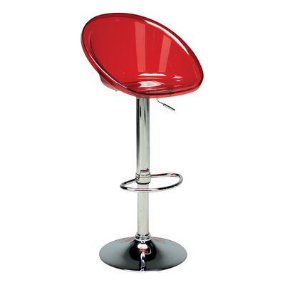 Adjustable Height Swivel Bar Stool (Set of 2) Upholstery: Transparent Red