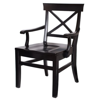 Solid Wood Dining Chair Upholstery: Distressed Black