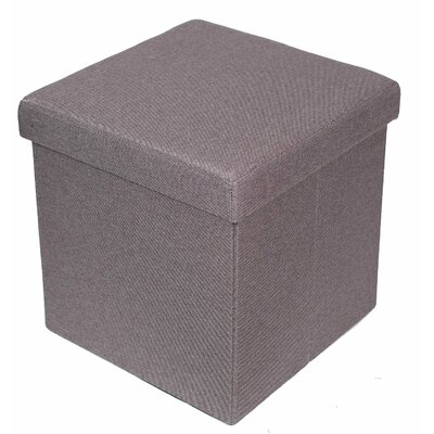Folding Storage Ottoman Upholstery: Light Gray