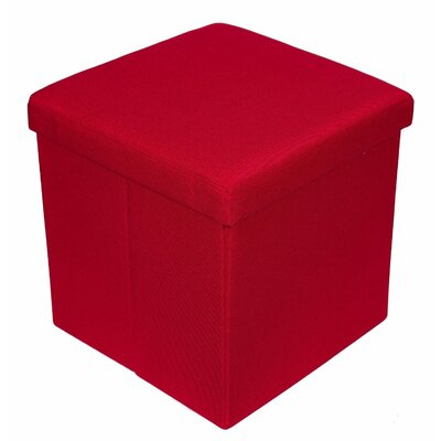 Folding Storage Ottoman Upholstery: Red