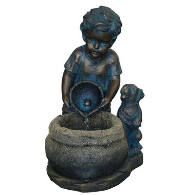Harmony Fountains Resin and Fiberglass Boy with Puppy Fountain at Sears.com